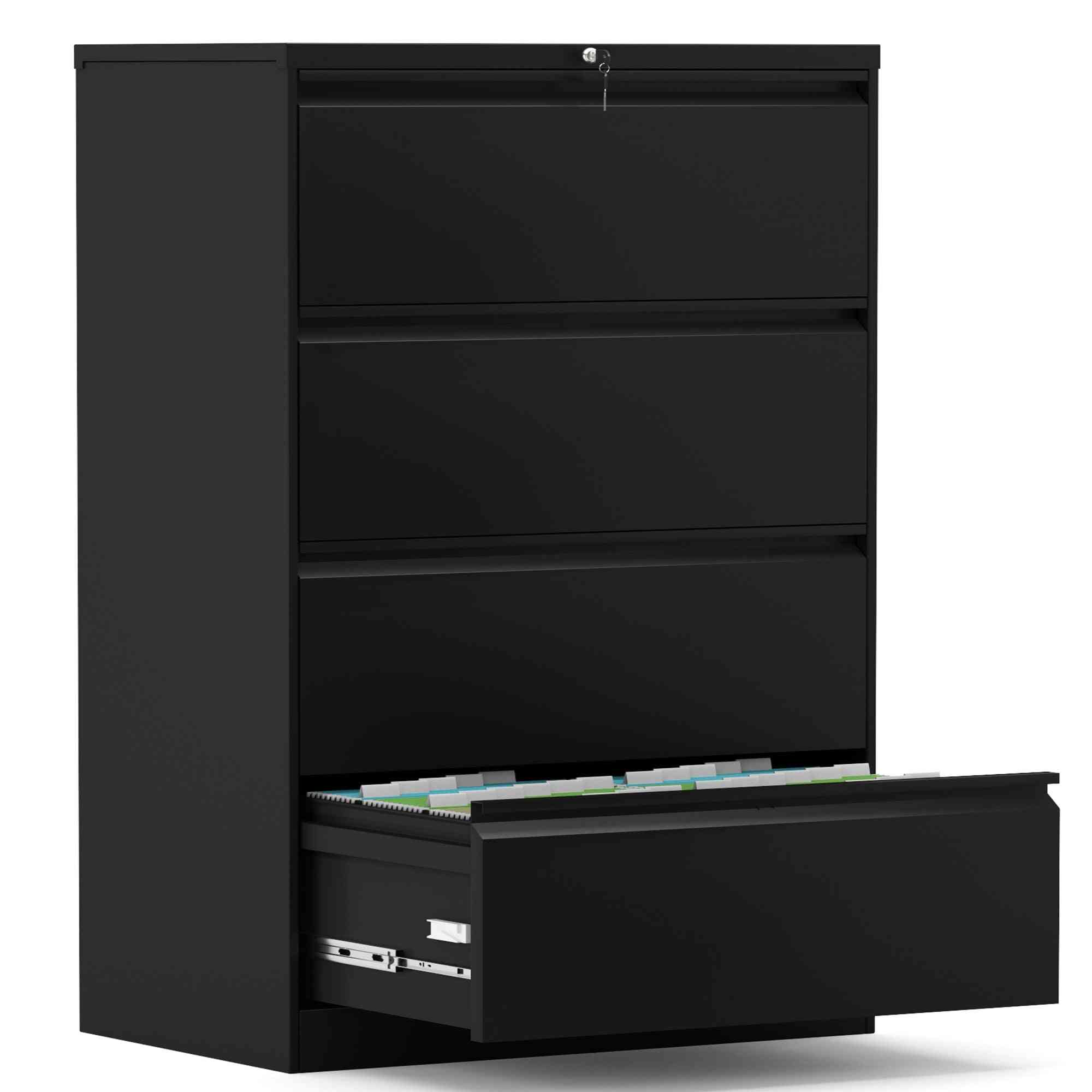 Anti-tilt Multifunctional Steel Folding Type Solid And Durable Non-deformable Black Four-drawer Filing Cabinet