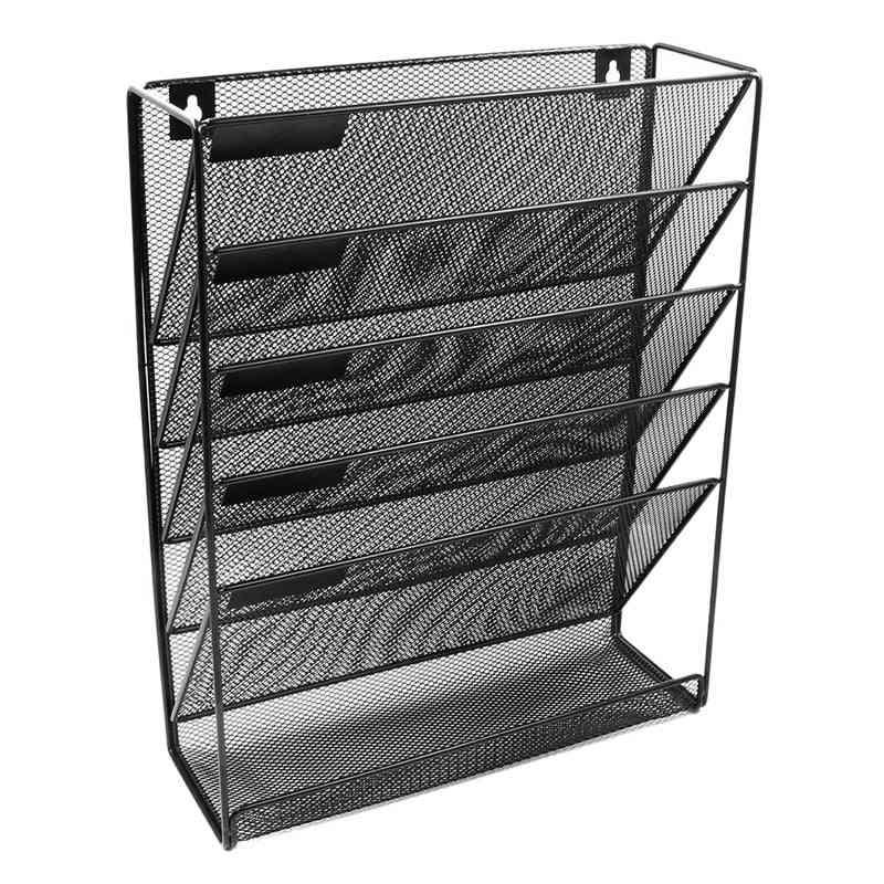 5-layer Metal Mesh, Wall-mounted, Magazine File Rack, Storage