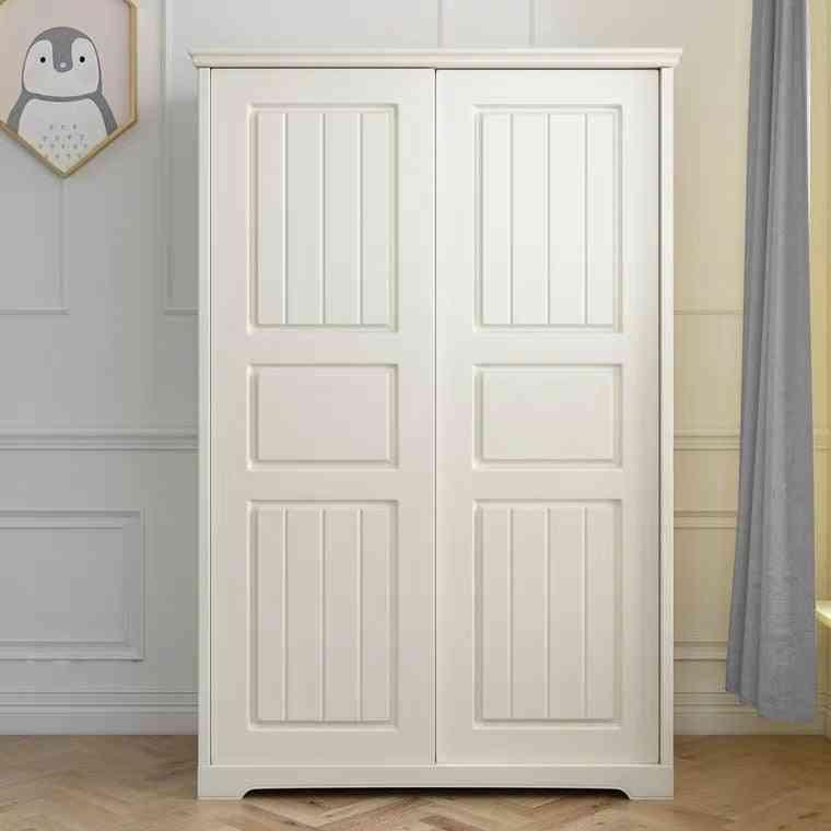 Children's Wardrobe Solid Wood Sliding Door Modern Simple Storage Organizer Bedroom Locker