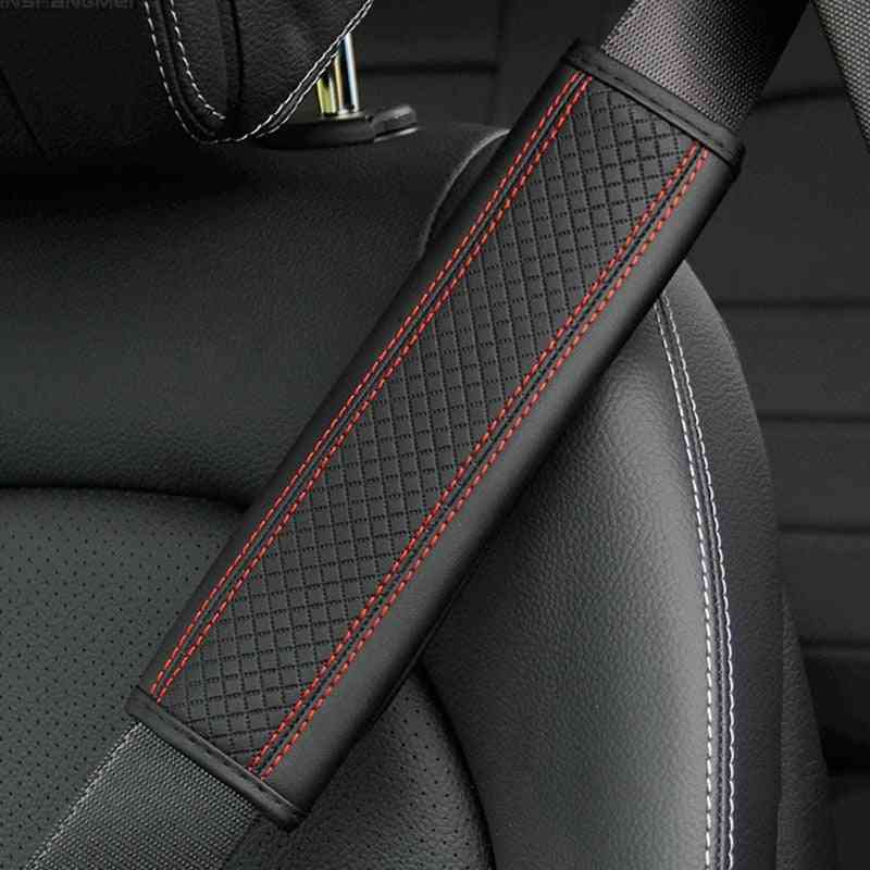 2/1 Pcs Car Pu Leather Safety Belt, Breathable Protection Seat Belt