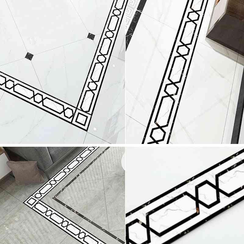 Waterproof Self-adhesive Wallpaper Border Geometric Pattern Baseboard Waveguide Line Floor Tile Stickers Living Room Waist Line