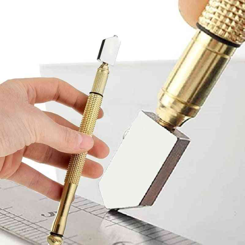 Diamond Glass Cutter, Portable Wheel Blade, Antislip Metal Handle, For Diy Tile, Mirror Craft Cutting Hand Tools