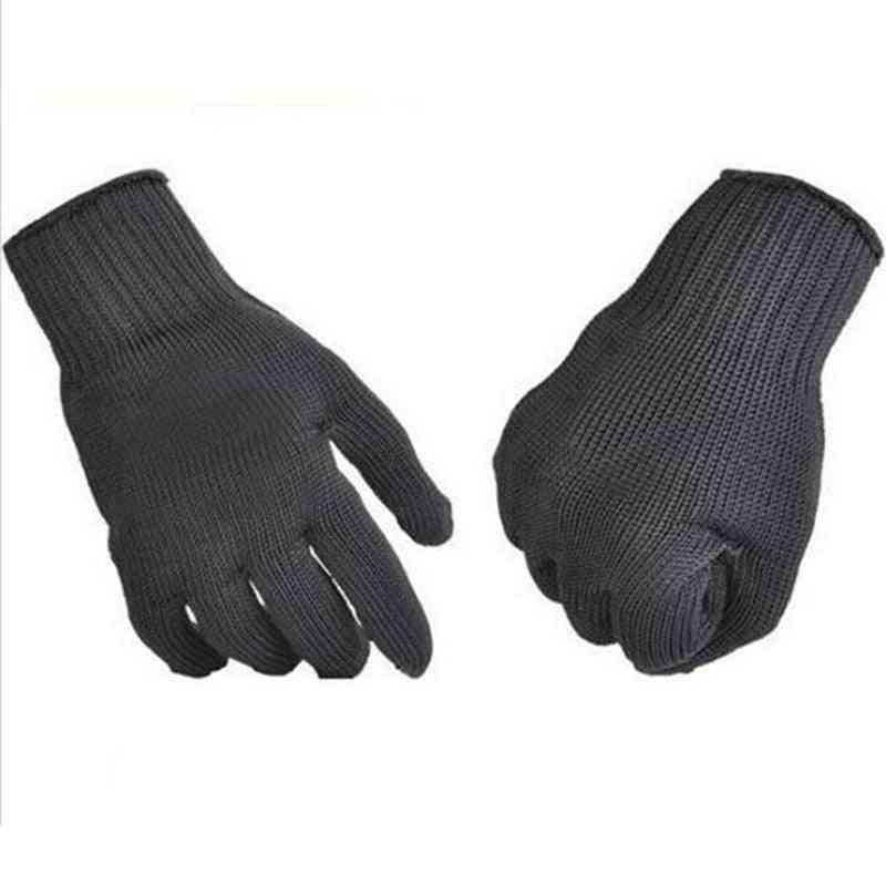 Garden Gloves Black Steel Wire Metal Mesh Gloves