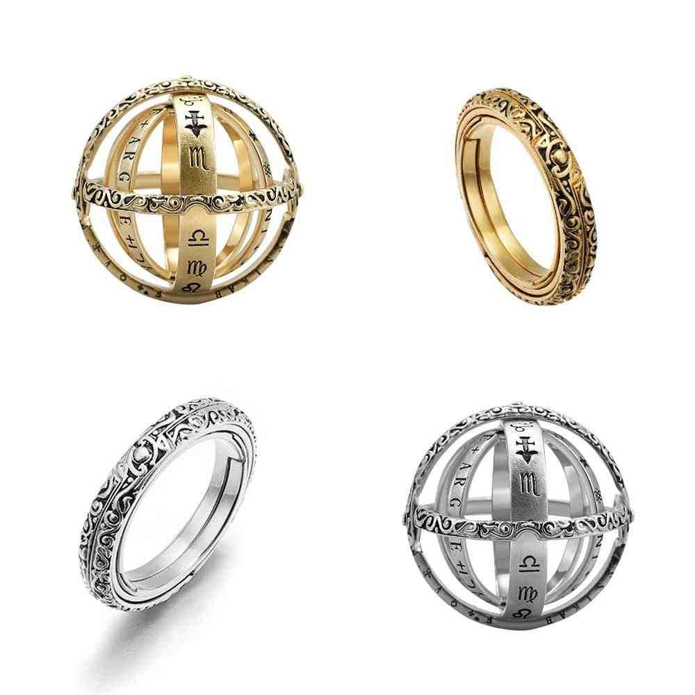 Astronomical Ball Rings, Men, Creative Complex Rotating Cosmic Finger Ring Jewelry