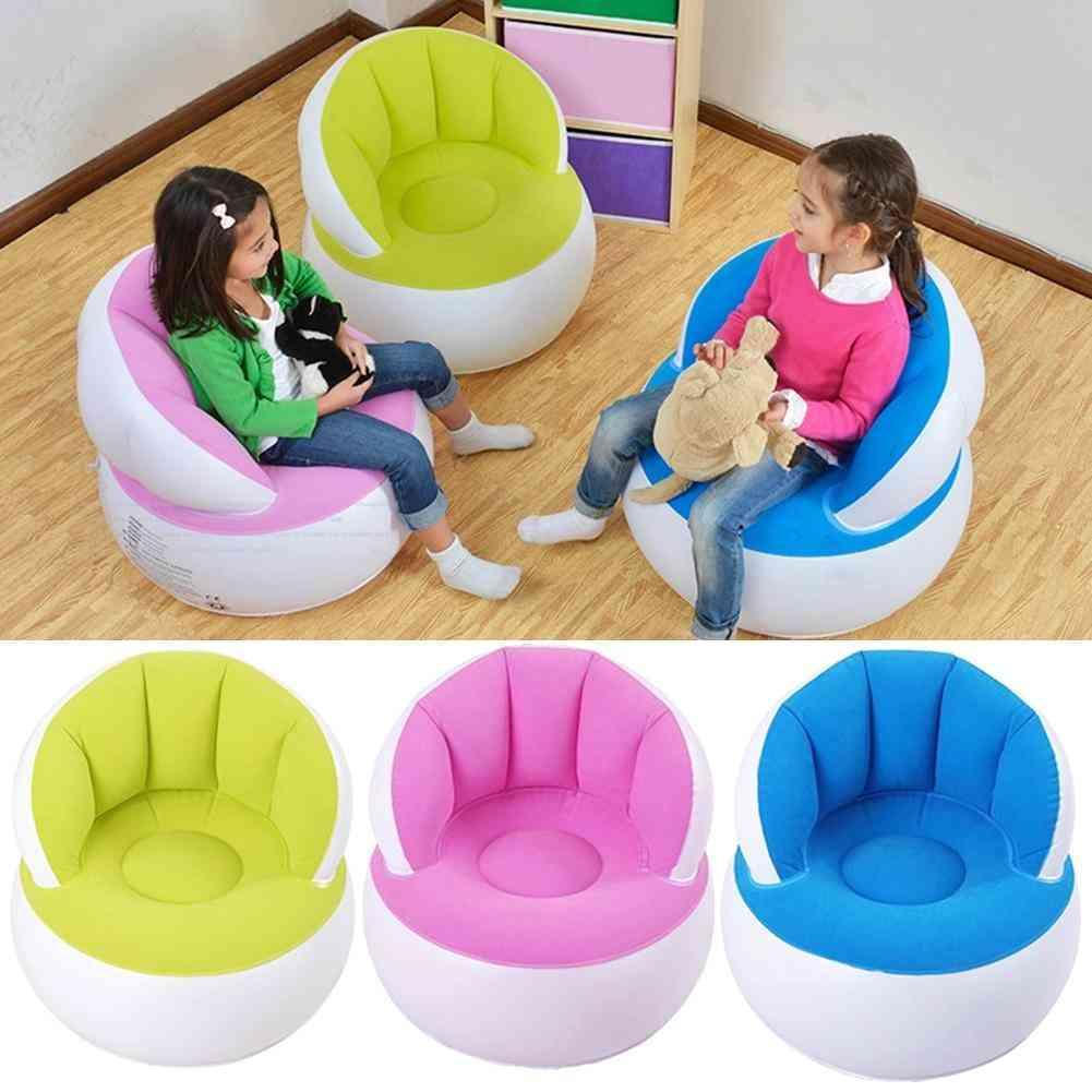 Child/adult Home Outdoor Inflatable Round Sofa Flocked Pvc Air Chairs Blow Up Lazy Couchs With Foot Pump