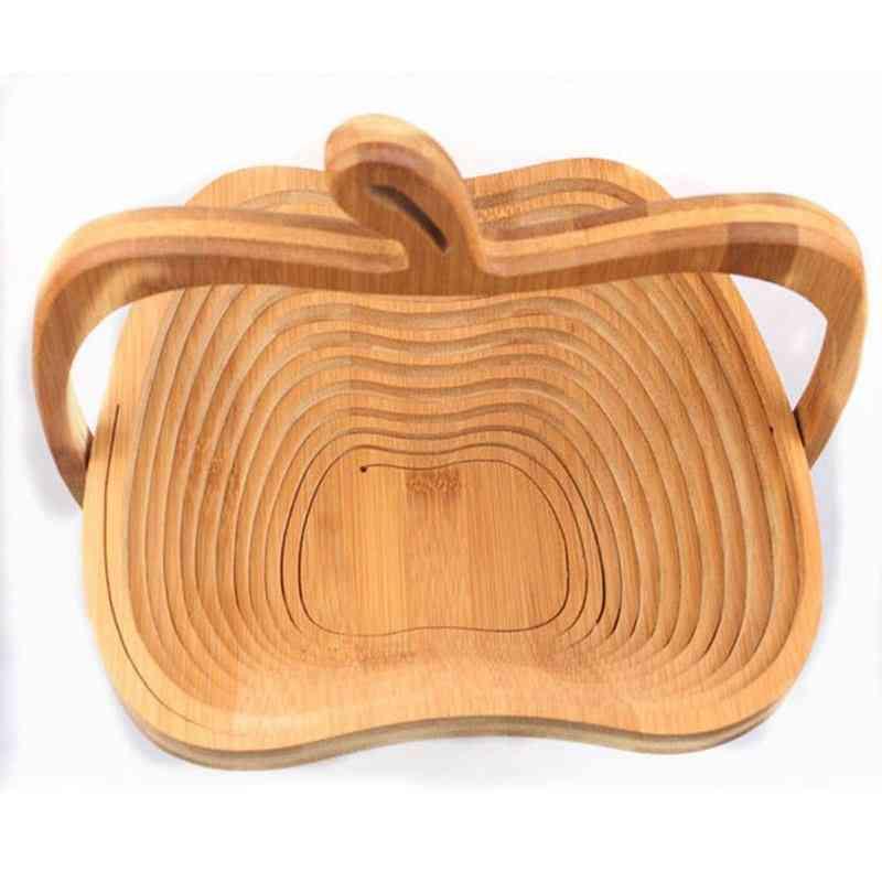 Novelty Foldable Apple Shaped Bamboo Basket, Fruit Basket