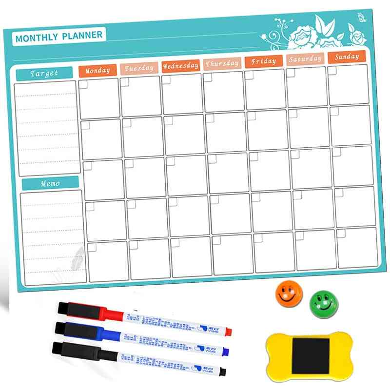 A3 Magnetic Board Monthly Calendar / Message Board