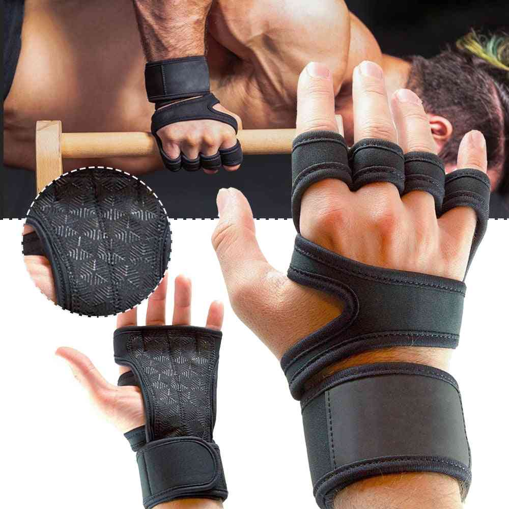 Weight Lifting Training Gloves, Women, Men, Fitness Sports, Body Building Gymnastics Grips, Gym Hand Palm Protector Glove