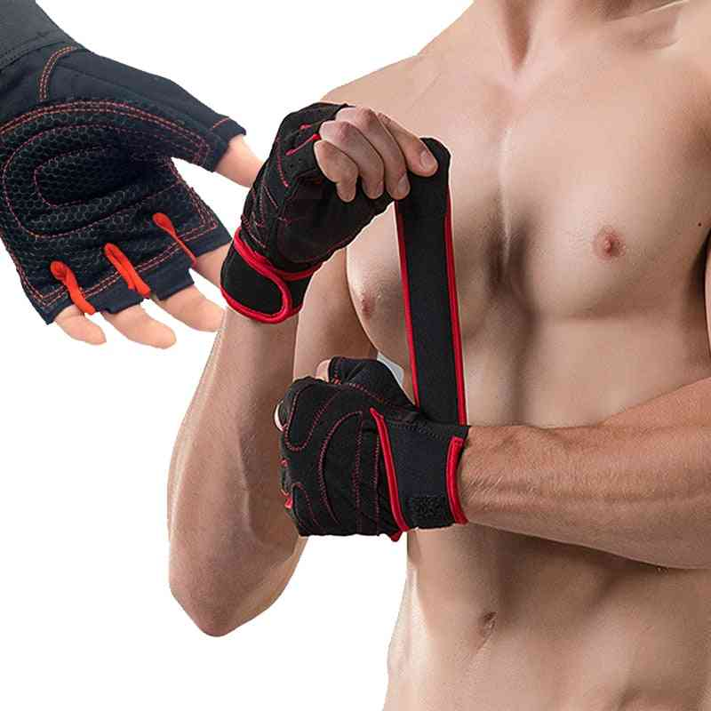With Belt Body Building Fitness Gym Gloves, Crossfit, Weight Lifting Glove, Women Anti-slip