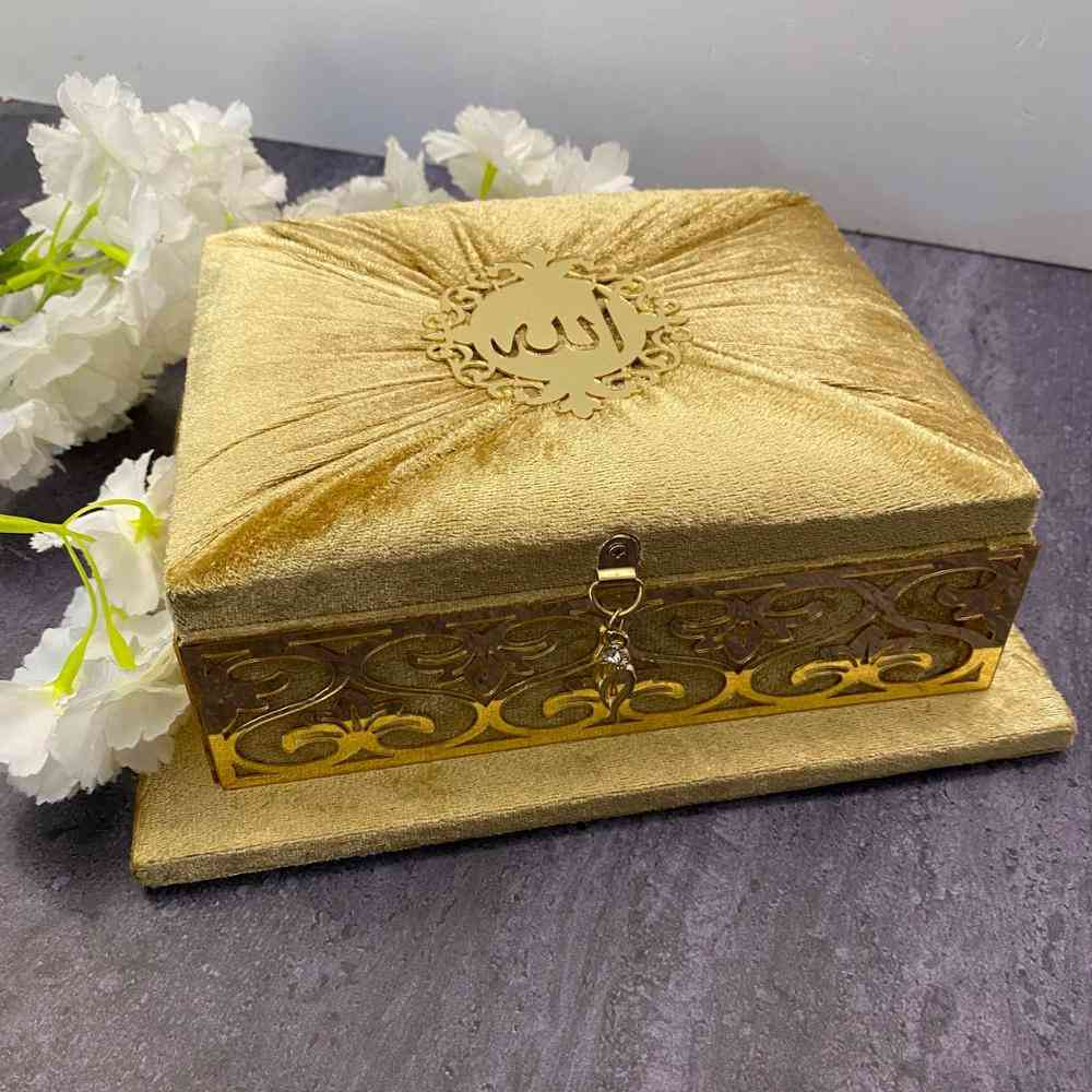 Holy Quran Velvet Covered Quran Set, With Acrylic Mirror, Islamic, Muslim Sets