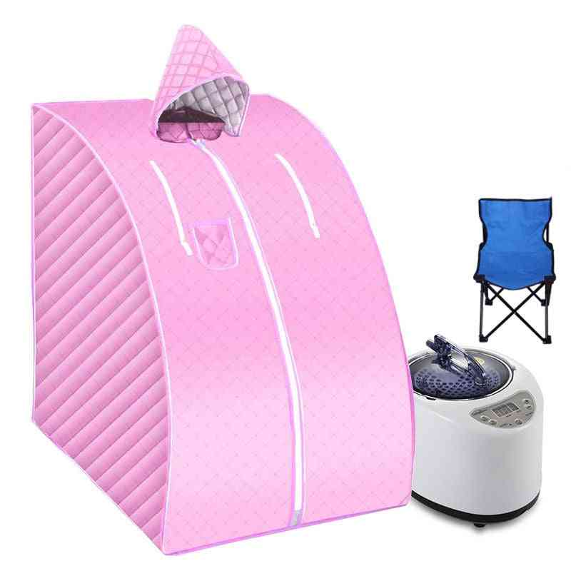Portable Steam Sauna With Fold Chair Home Bath Ease Insomnia Stainless Steel Pipe Support