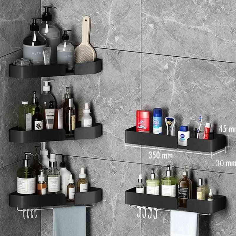 Wall Mounted Corner Towel Holder Storage Rack Bar With Robe Hook For Bathroom Shelves Square Basket Hanger Kitchen Accessories