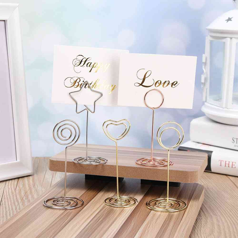 Wedding Heart Photo Clip Table Number Stand Desktop Decoration Metal Place Card