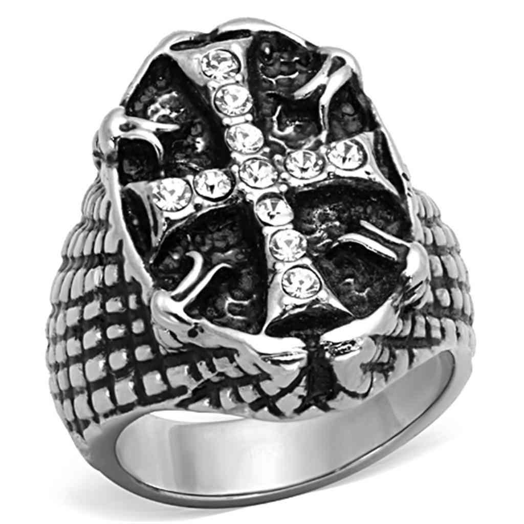 Men Stainless Steel Synthetic Crystal Rings Tk1351