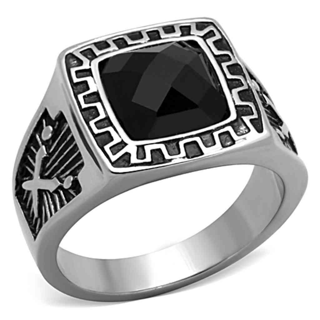 Men Stainless Steel Synthetic Glass Rings Tk1356