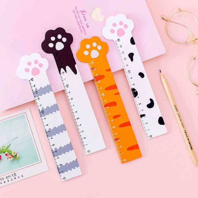 Kawaii Cat Claw Cat Paw Wooden Straight Ruler