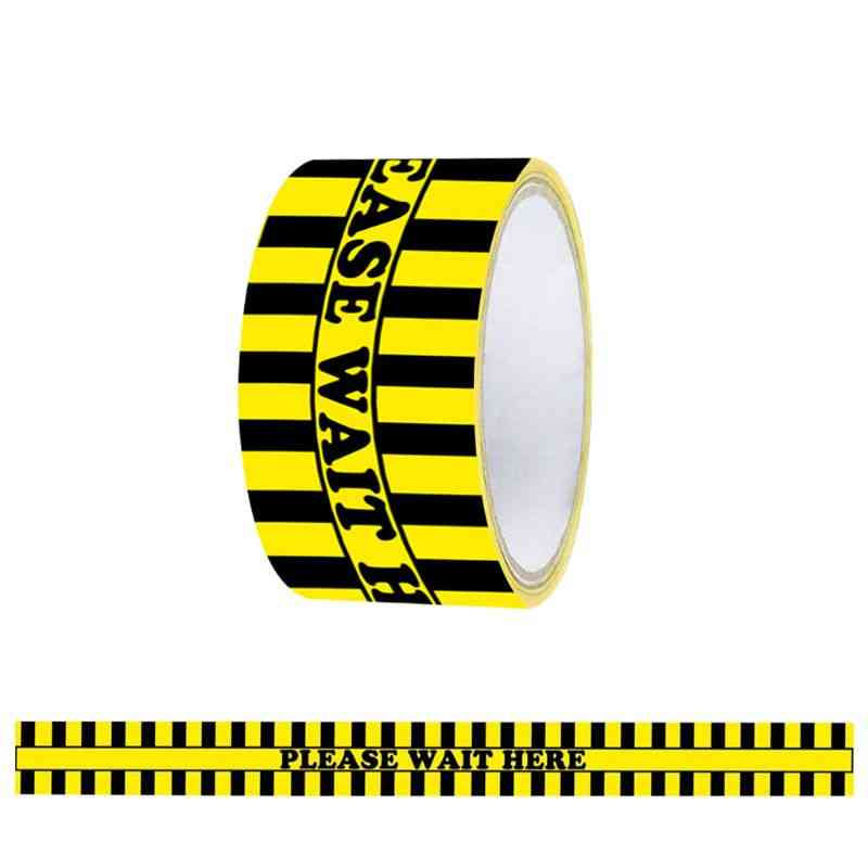 1roll Please Wait Here Warning Floor Tape - Social Distancing Marking Adhesive Tape