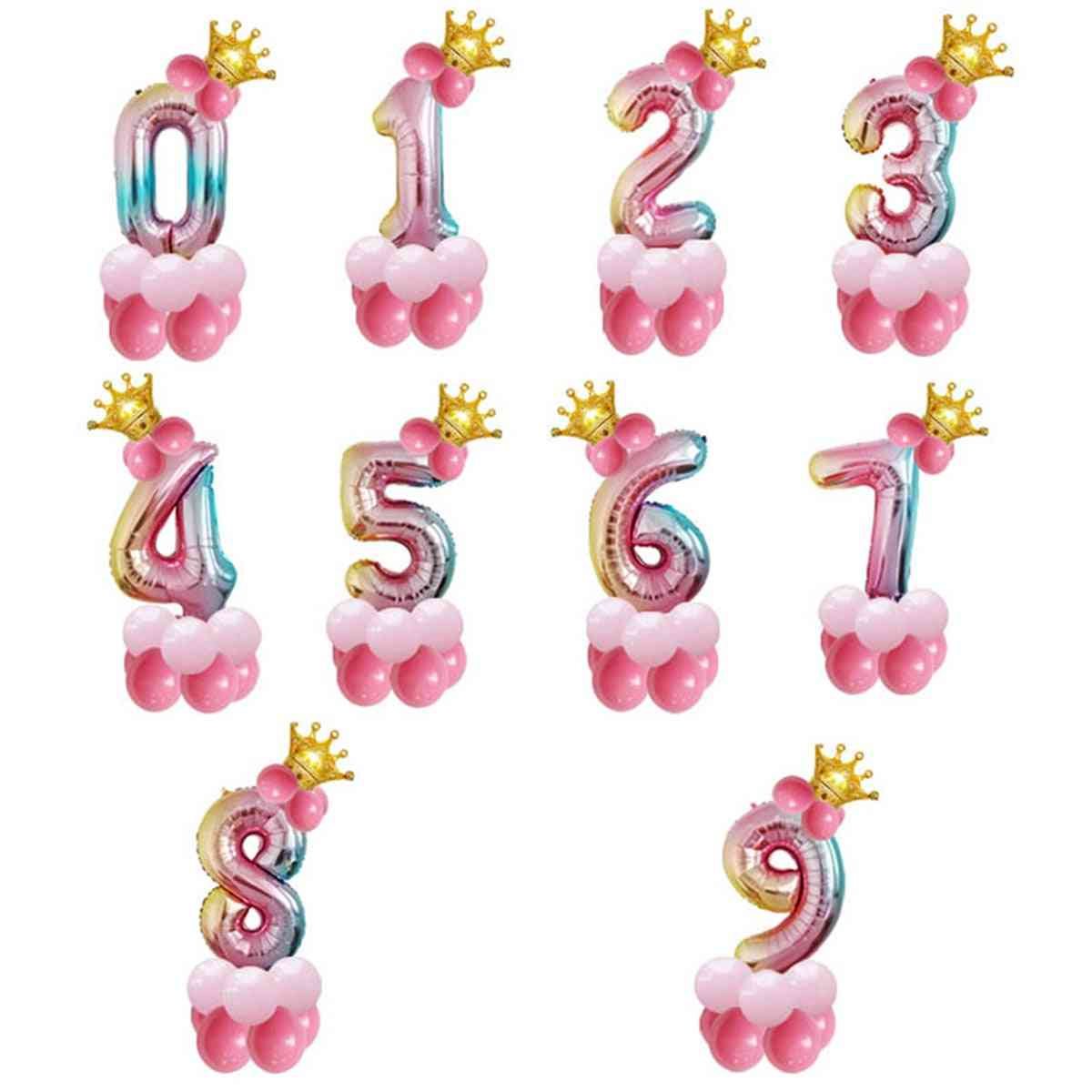 Foil Birthday Balloons, Number Balloon, Happy Birthday Party Decorations.