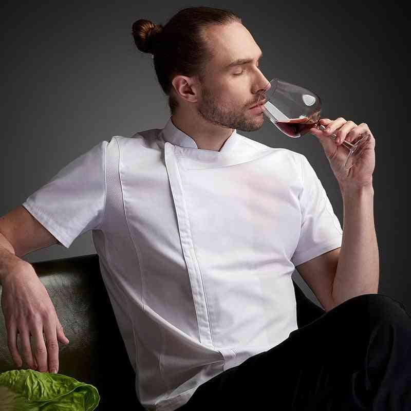 Short-sleeve Chef Uniform Breathable Summer Kitchen Cooking Jacket