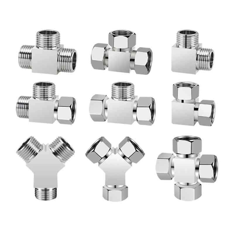 Bsp T- Y-shaped Brass Water Pipe Tee Fitting Male Female Elbow Four-way Union Connector