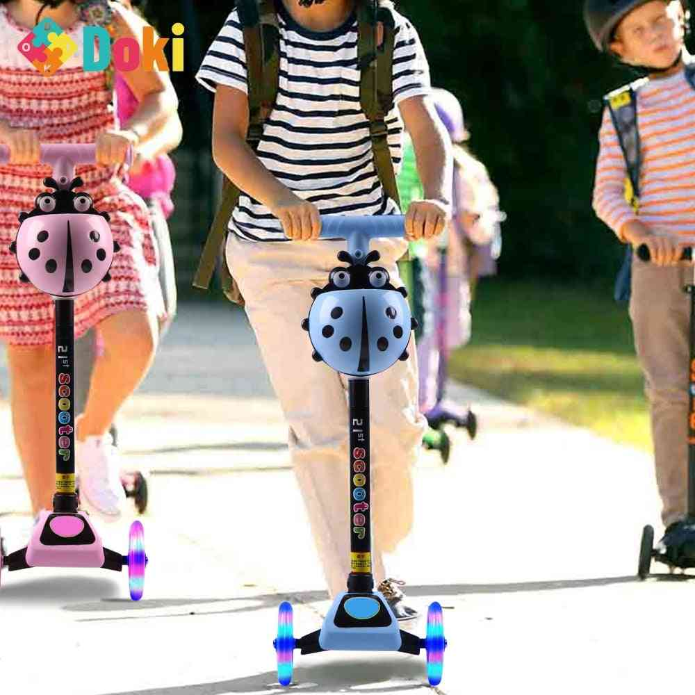 Toy's Adjustable Foot Scooters, Led Light Up, Unisex Kick Scooter, 3 Wheel City Roller, Skateboard