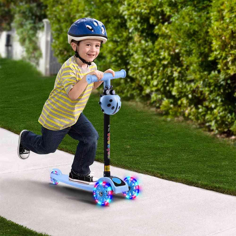 T Bar Balance Riding Kick Scooters, Fun Sport Toy, Led Wheel Adjustable Kids Birthday