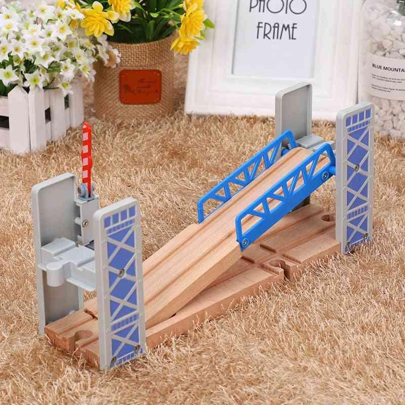 Wooden Train Tracks, Railway Set, Double Deck Bridge, Accessories Overpass, Model Kid's Toy's