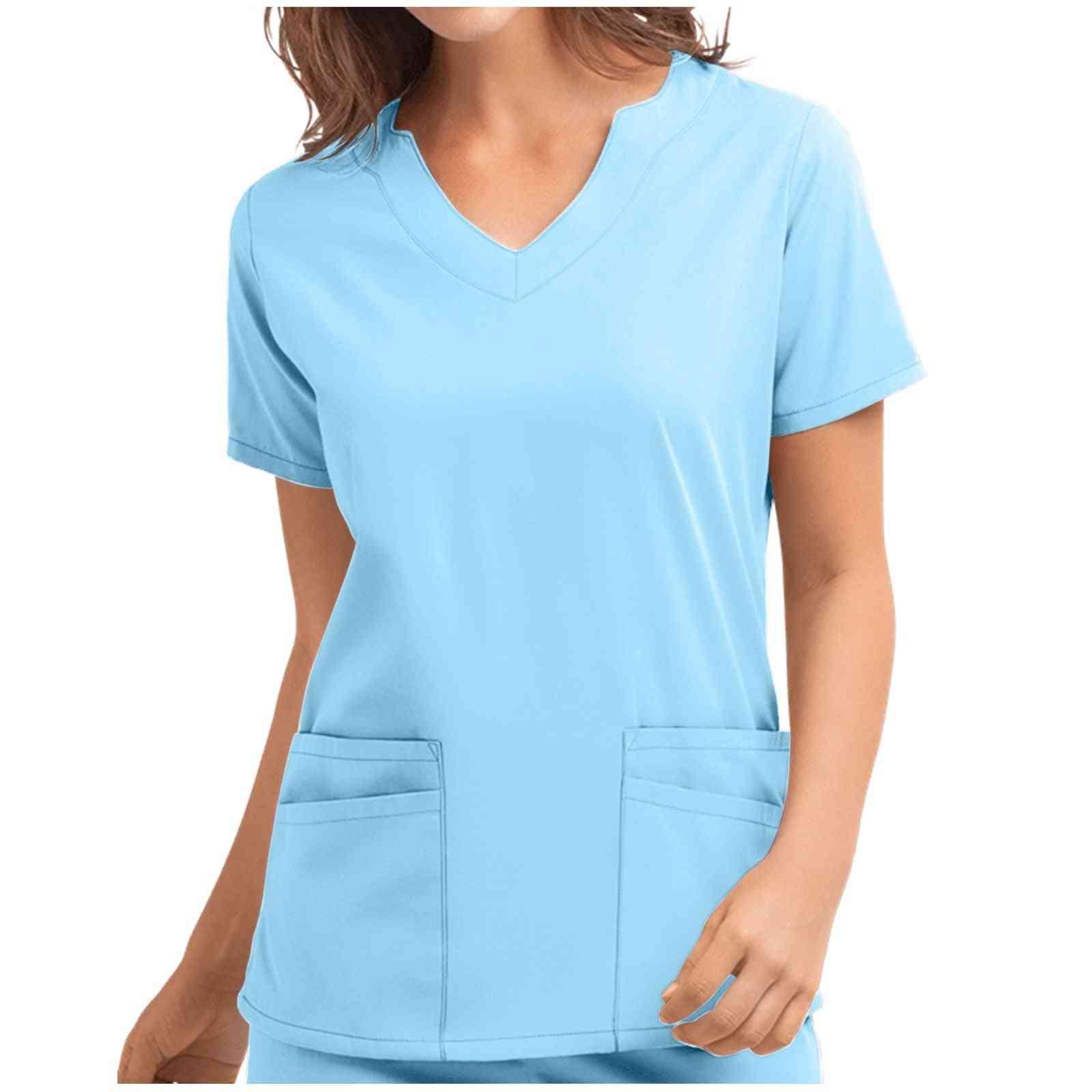 Women High Temperature Sterilizable Clothing Short Sleeve V-neck Tops