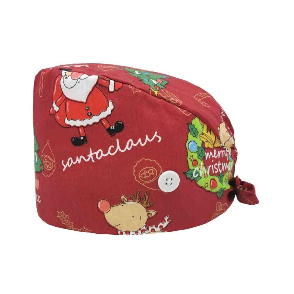 Unisex Cotton Cartoon Christmas Print Scrub Hat