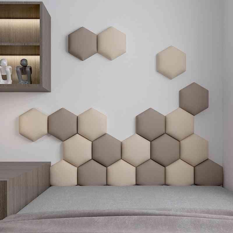 Multi-colour Hexagonal Headboard Soft Bag Set 3d Wall Sticker