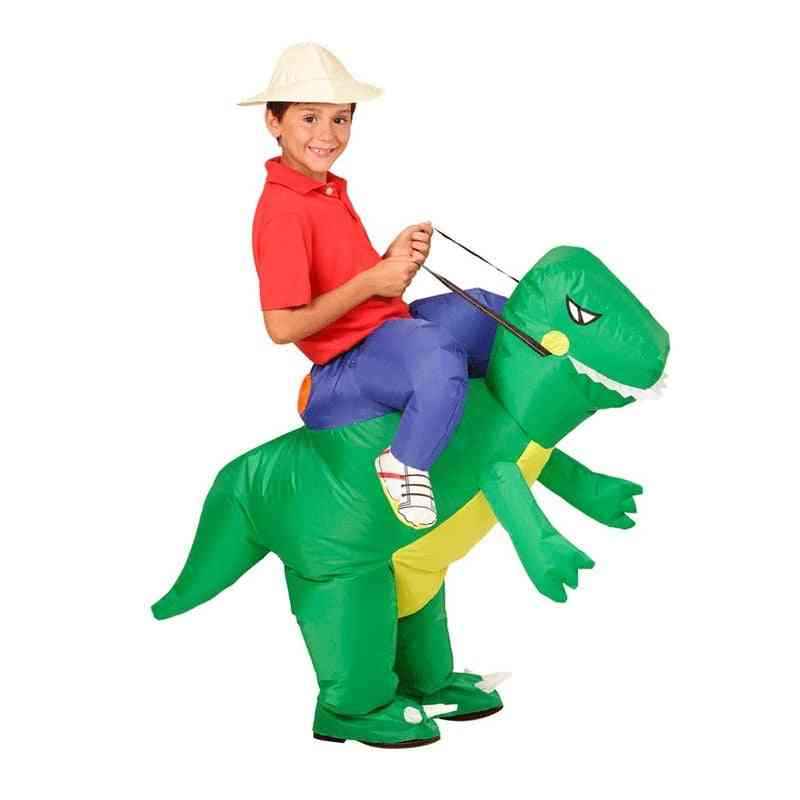 Inflatable Dinosaur Kids Costume, T-rex Dino Rider Outfit Cosplay, Halloween Dragon Party Carnival, Blow Up, Fancy Dress