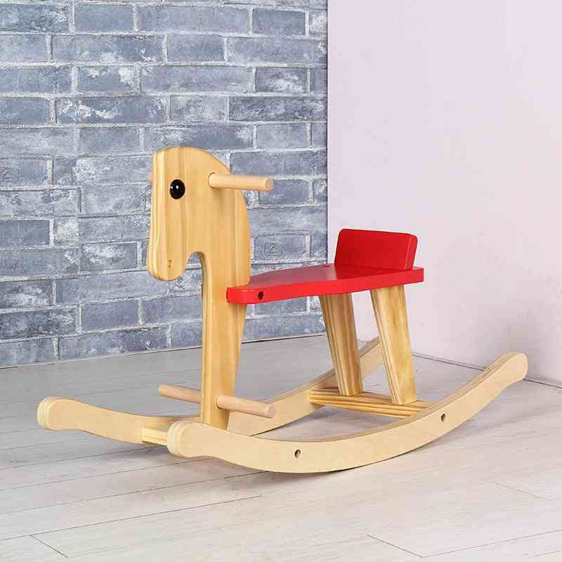Children's Solid Wood Kids Rocking Horse, Chair Ride On For And
