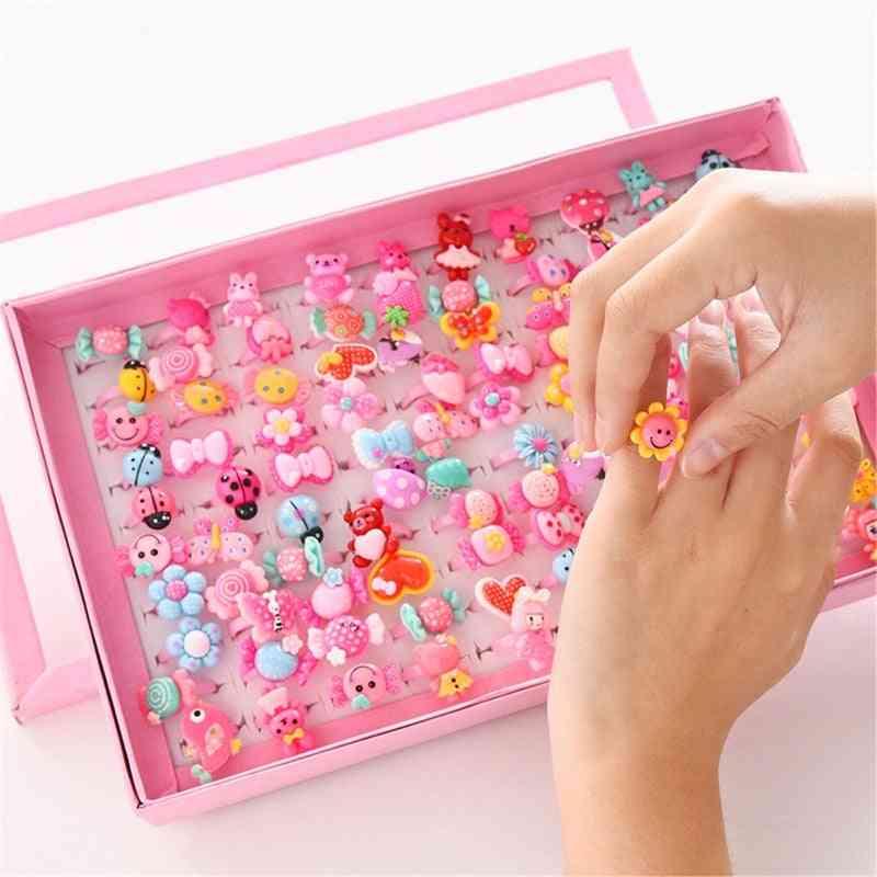 Children's Cartoon Rings, Candy, Flower, Animal Bow Shape Ring Set, Mix Finger Jewellery,  Kid