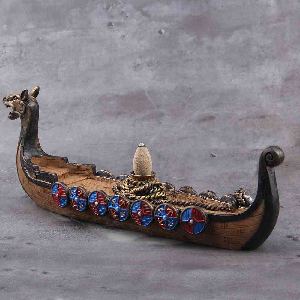 Ceramic Incense Holder Viking Dragon Boat