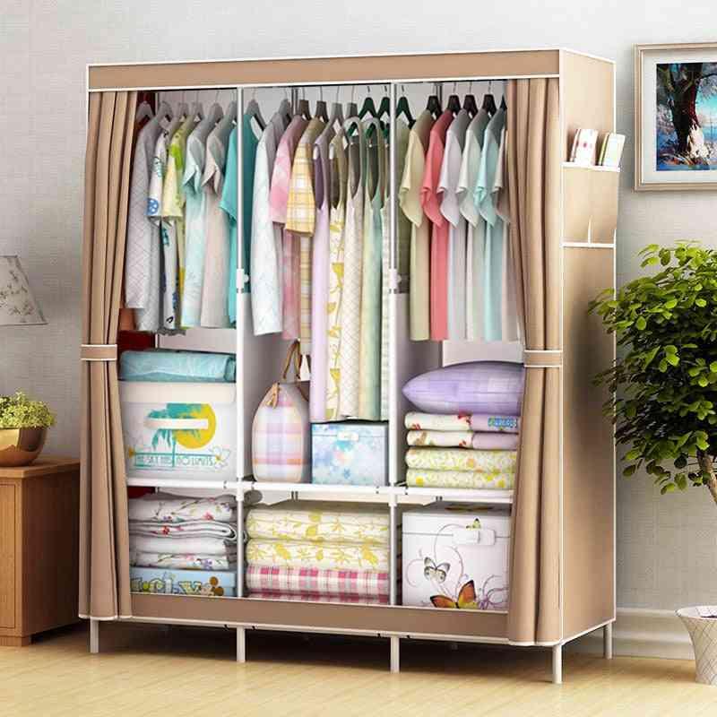 Simple Wardrobe Folding Closet Fabric Clothes Storage Cabinet Locker