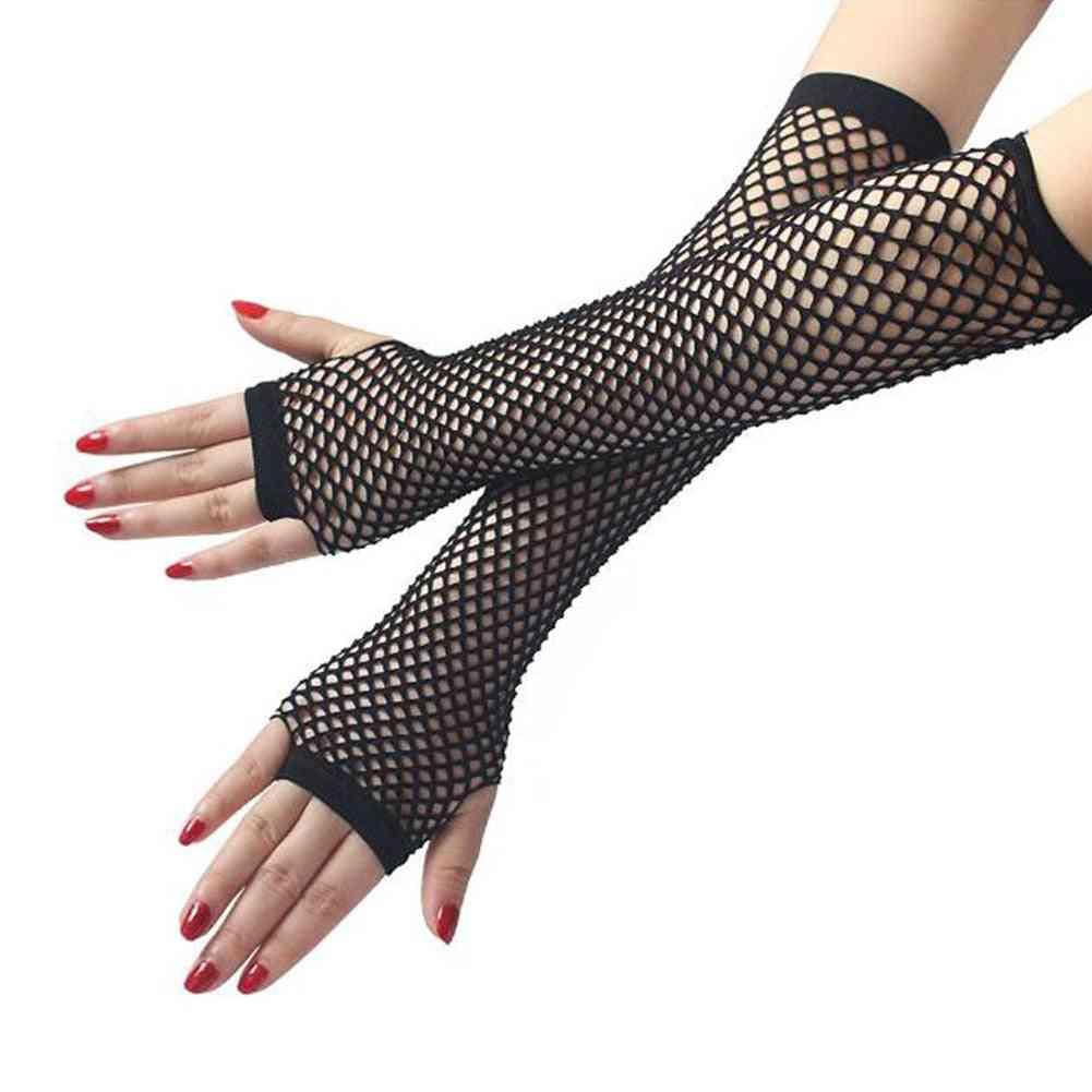 Fishnet Mesh Long Glove, Fashion Women Lady Girl Glove