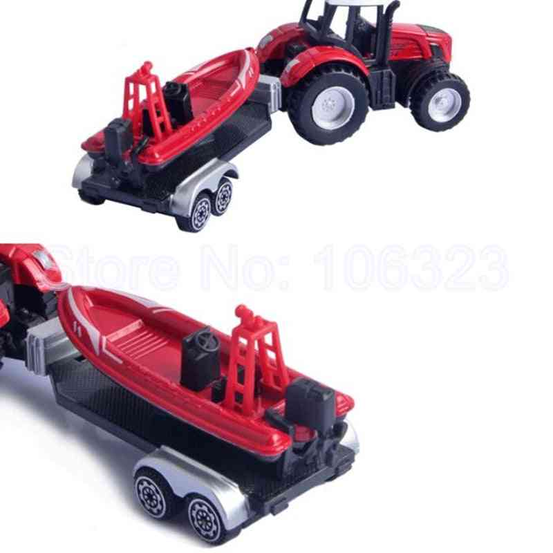 Toy Farm Tractor Truck With Trailer, Plastic Die Cast Metal Vehicle, Model Trail Frame, Carry Beach
