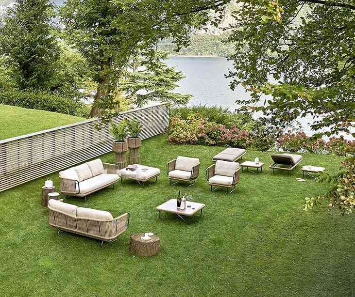 Garden Furniture Woven Rope Wood Big Sofa Set