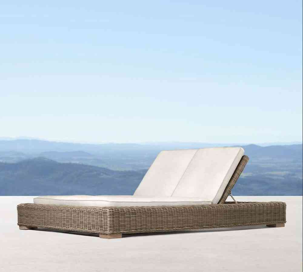 Patio Outdoor Garden Wicker Double Daybed Sun Lounger Furniture