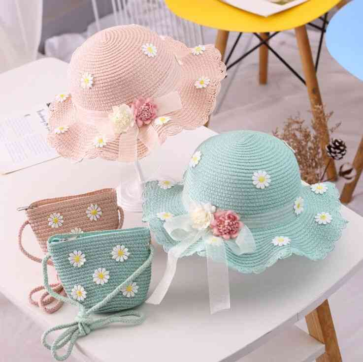 Summer Girl Children Straw, Hat+ Handbag Cap-straw