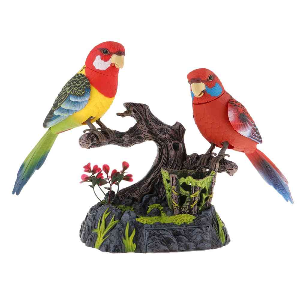 Electric Battery Operated Birds, Simulated Induction Sound, Control Voice-activated, Talking Parrots, Moving Pets