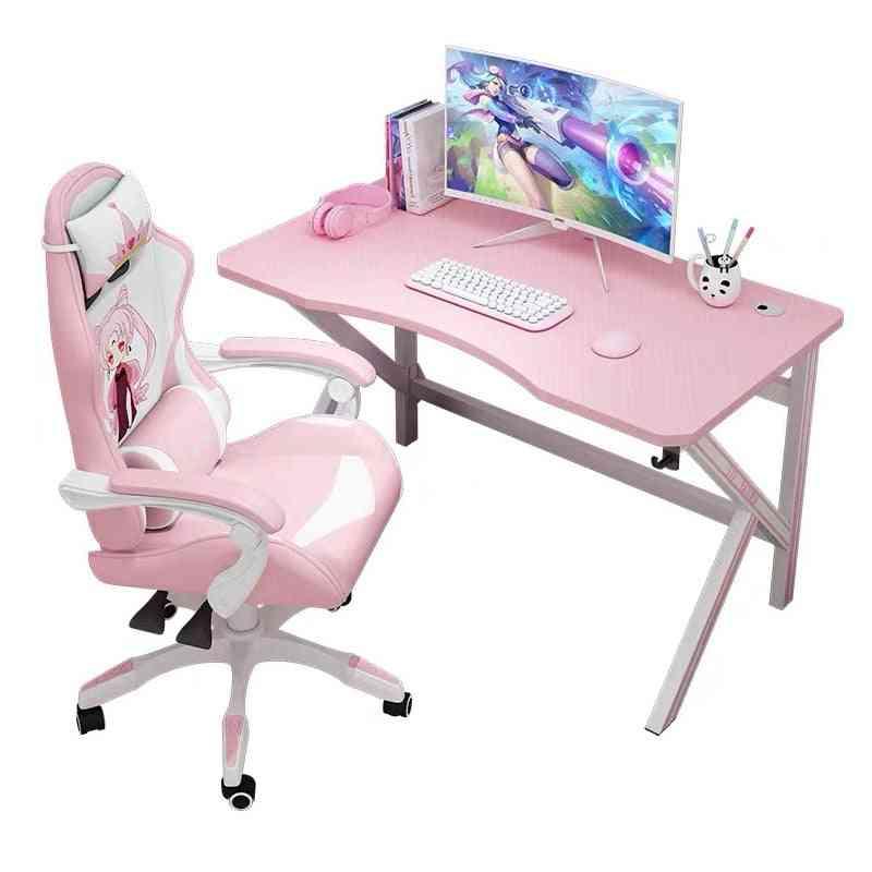 Pink Computer Desk Home Office Desktop Game E-sports Table Anchor Live White Computer Desk Internet Cafe Gaming Desk