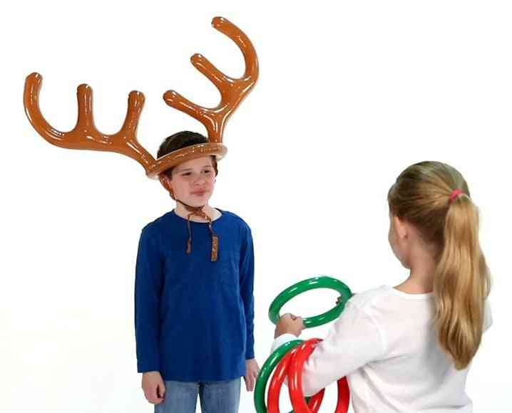 Inflatable Deer Head Ring Throwing Ring Toy Children Outdoor Sports Christmas Toy Gift.