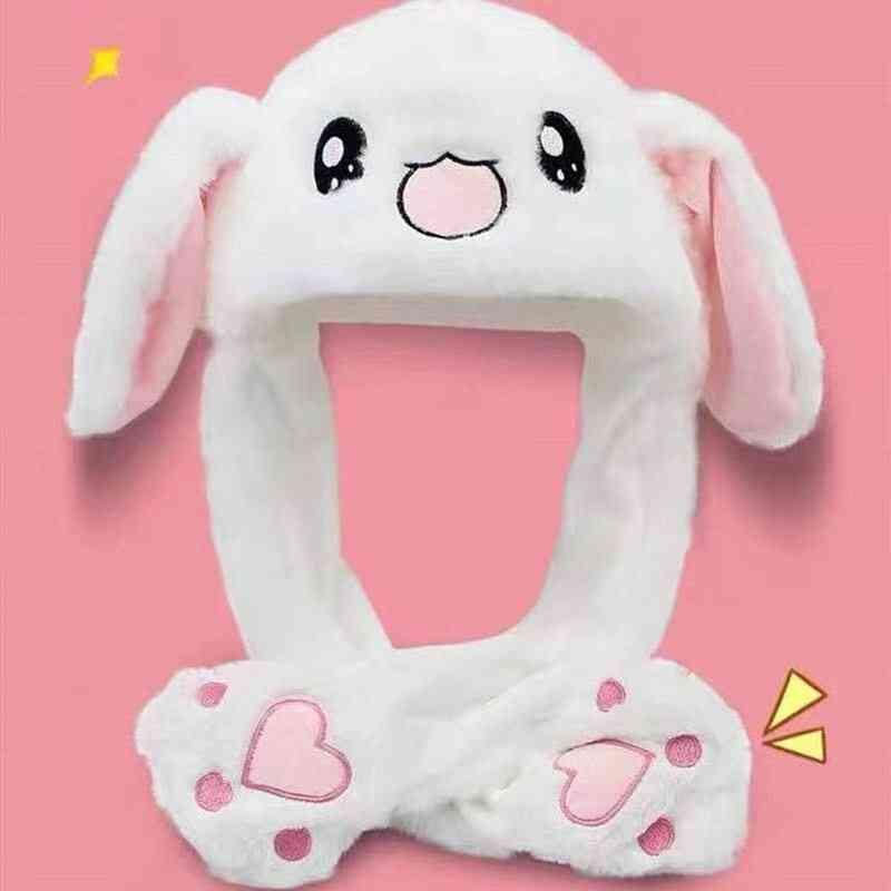 Cartoon Jumping Up Toys Pinching Rabbit Ear  Plush Cosplay Cap Kids.