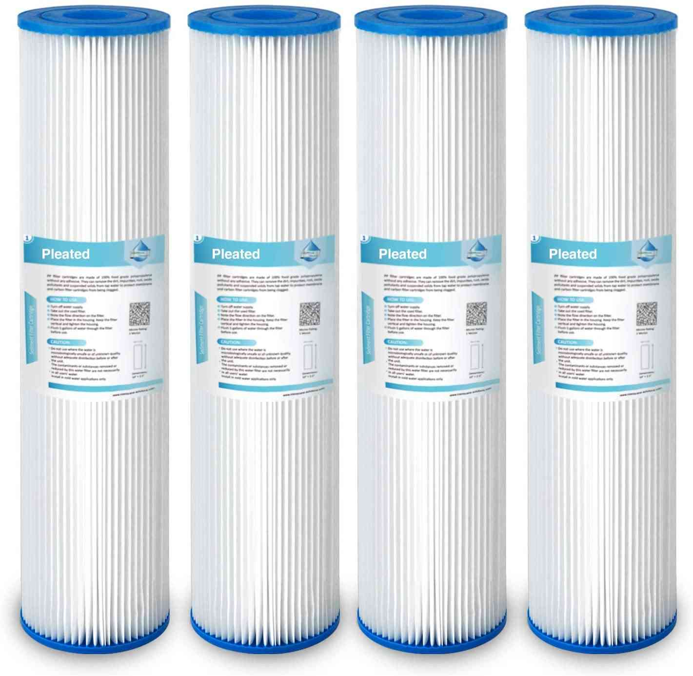 Micron Pleated Polyester Sediment Water Filter, Replacement Cartridge, Whole House