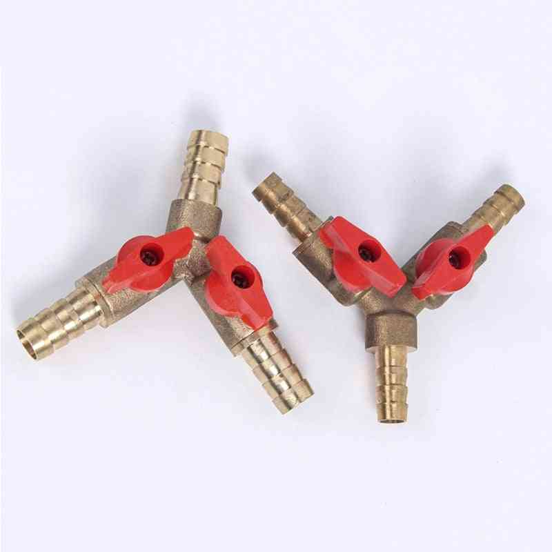 8mm 10mm Hose Barb Y Type Three 3 Way Brass Shut Off Ball Valve Pipe Fitting Connector Adapter For Fuel Gas Water Oil Air