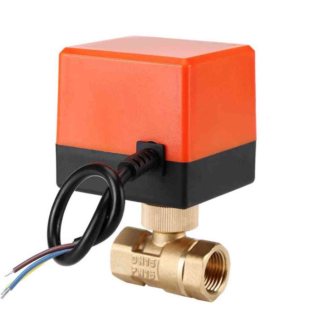 Dn15 / Dn20 / Dn25 Motorized Electric 2-way Brass Ball Valve Dn20 Ac 220v 2 Way 3 Wire With Actuator Cable For Gas Water Oil