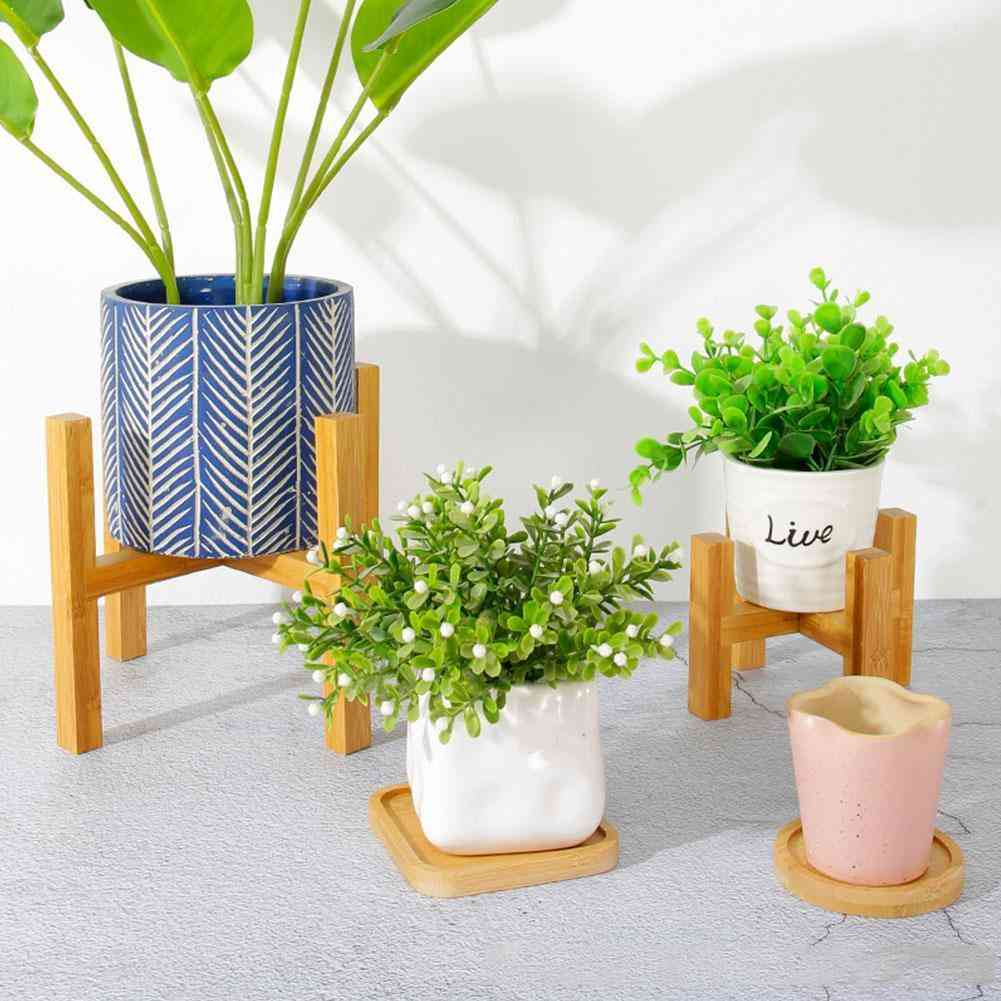 Wooden Four-legged Flower Stand Strong Durable Free Bonsai Home Shelf Display