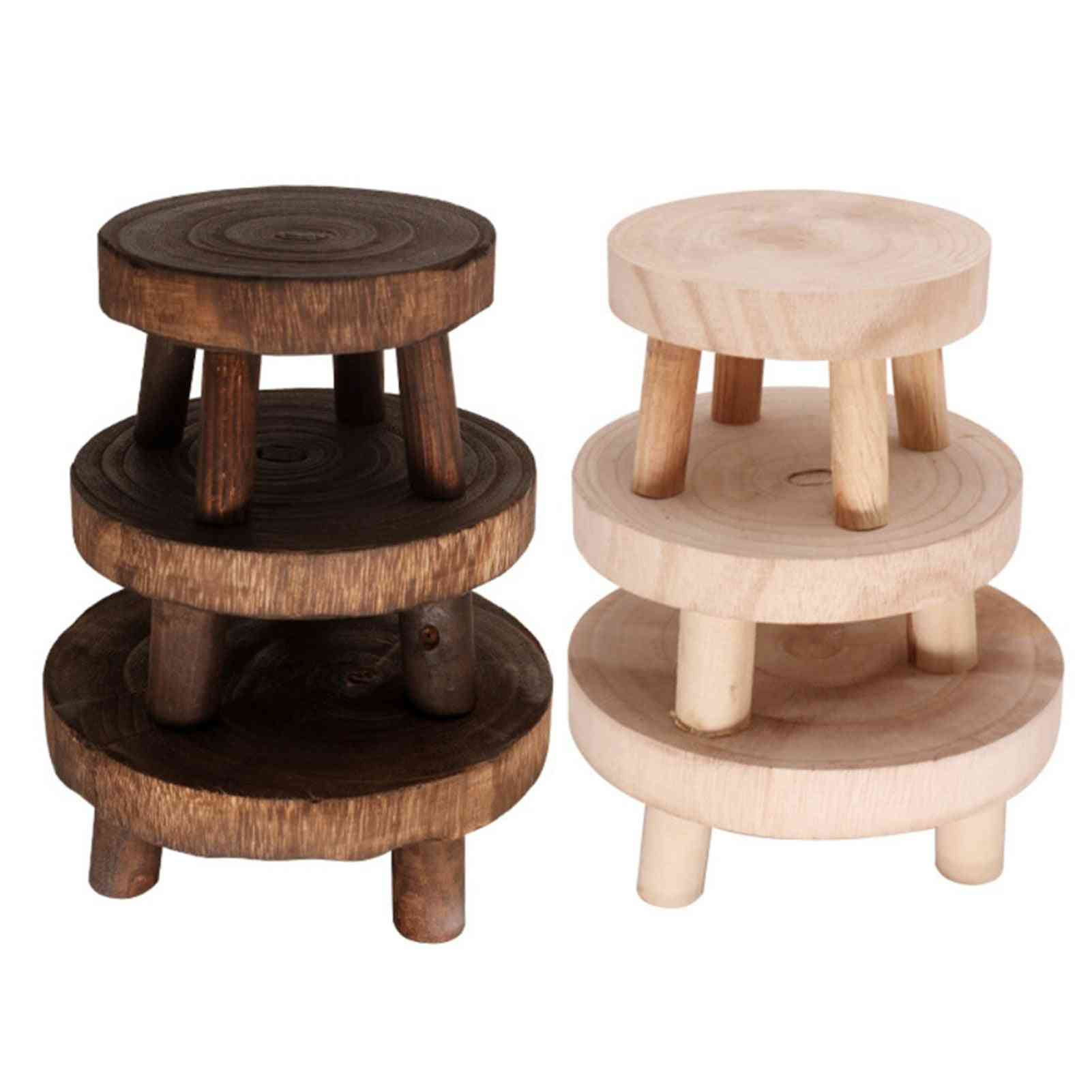 Wooden Flower Pot Stand Small Bench Footstool Art Plant Planter Display Holder