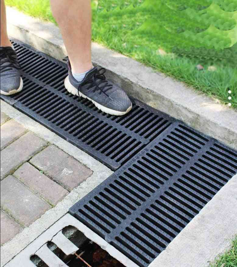 Resin Plastic Kitchen Sewage Ditch Drainage Sewer Trench Plate Grid Rainwater Grate Rectangular Well Cover